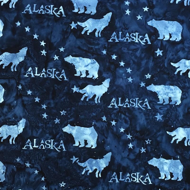 Alaska Flag Stars Wildlife Batik SH43-580 Ocean
