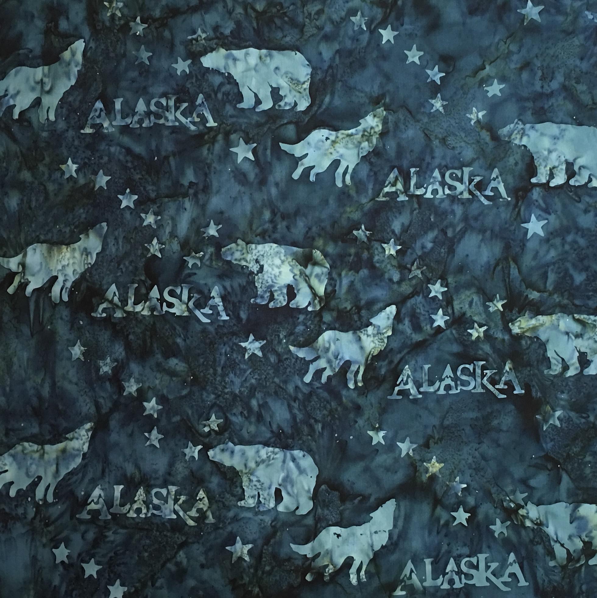 Alaska Flag Stars Wildlife Batik SH43-560 Dark Lagoon