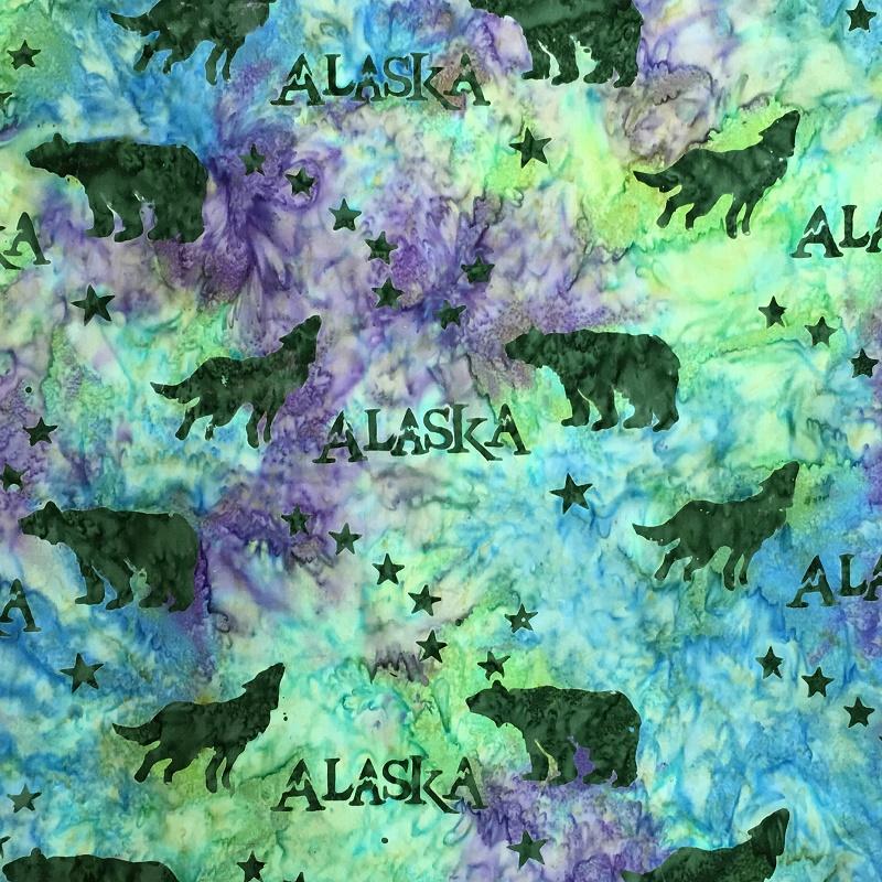 Alaska Flag Stars Wildlife Batik SH43-883 Mardi Gras