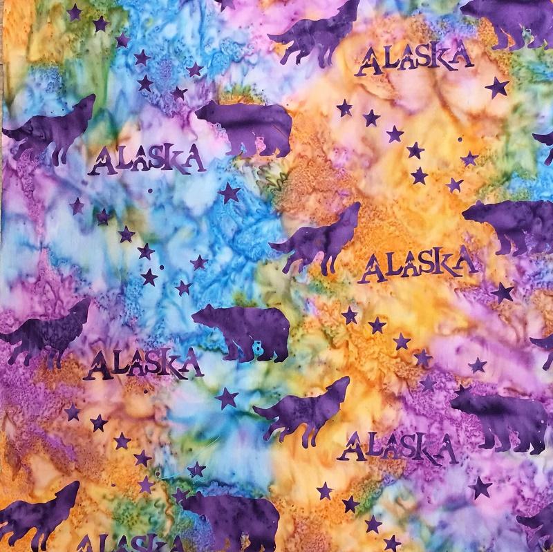 Alaska Flag Stars Wildlife Batik SH43-880 Snowcone
