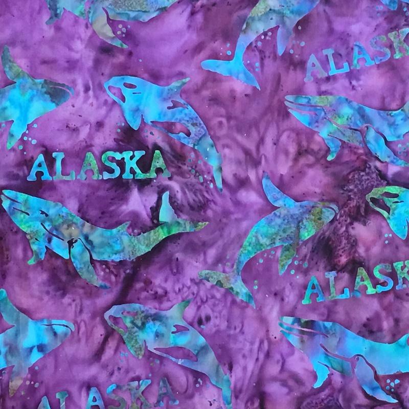 Alaska Word & Whales Batik SH44-455 Iris