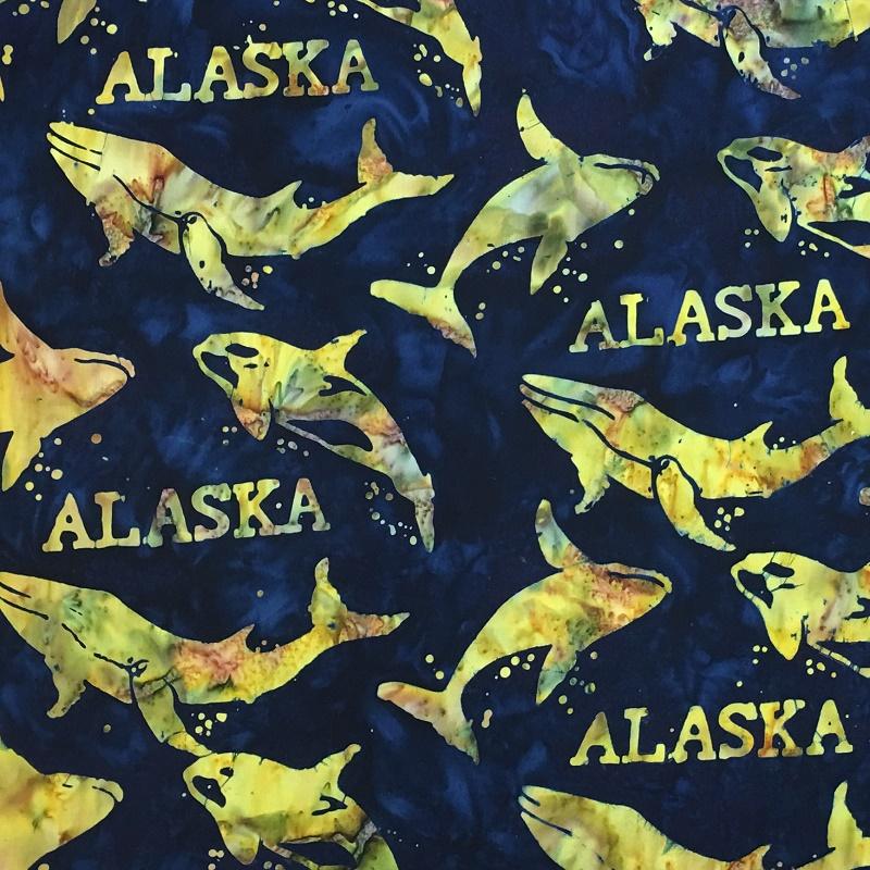 Alaska Word & Whales Batik SH44-570 Universe
