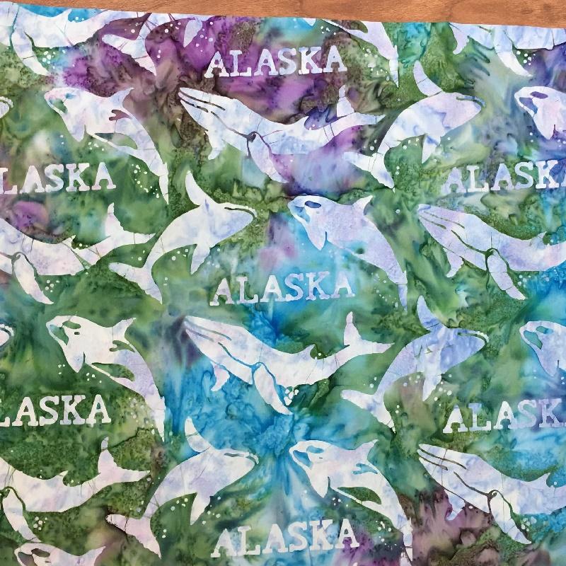 Alaska Word & Whales Batik SH44-855 Cool Waters