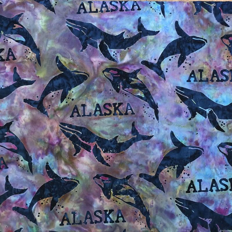 Alaska Word & Whales Batik SH44-880 Snowcone