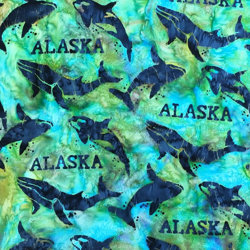Alaska Word & Whales Batik SH44-883 Mardi Gras