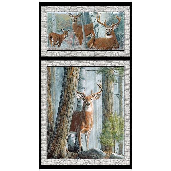 Panel In the Woods Deer P53 QT 26045-K grey