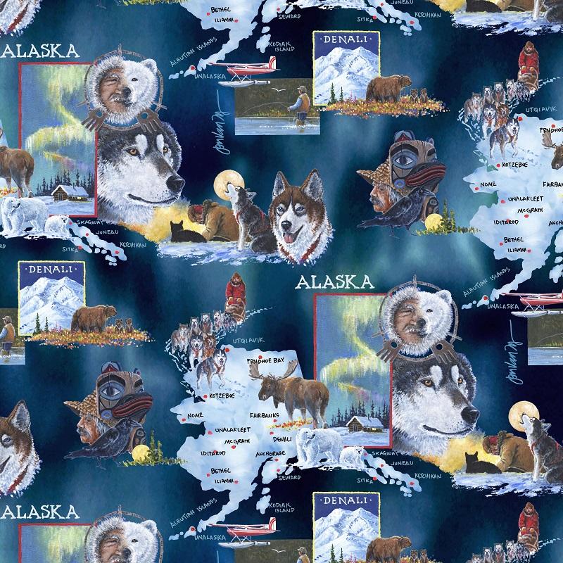 Alaska Map & Lifestyle Jon Van Zyle 101B Navy