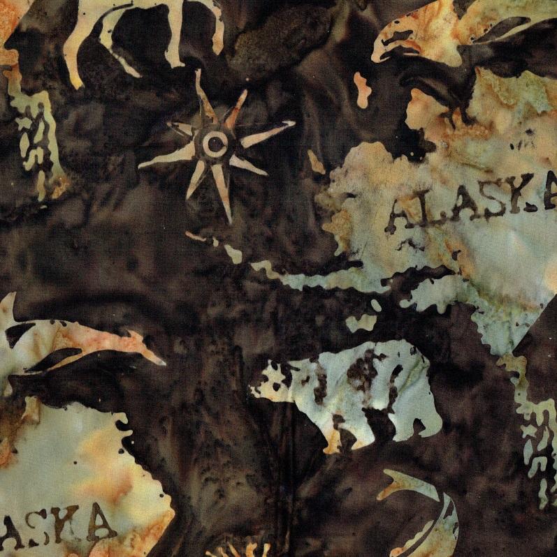 Alaska Map Batik SH45-085 Cappuccino
