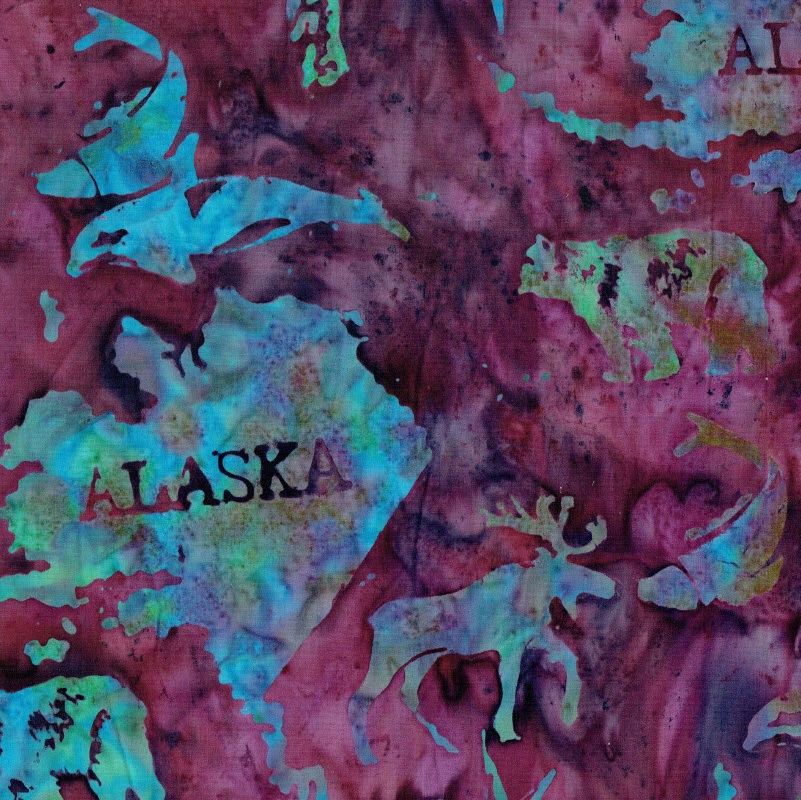 Alaska Map Batik SH45-485 Blackberry