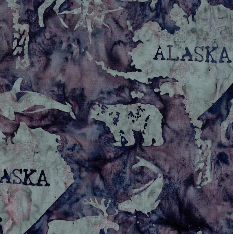 Alaska Map Batik SH45-495 Eggplant