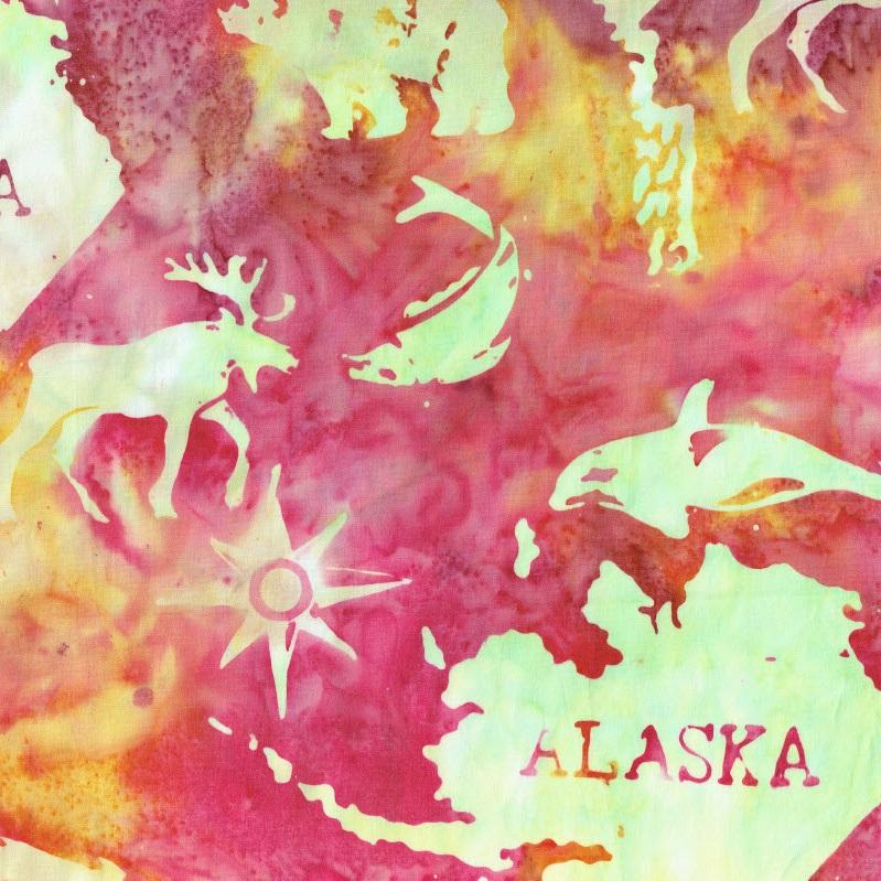 Alaska Map Batik SH45-849 Cotton Candy