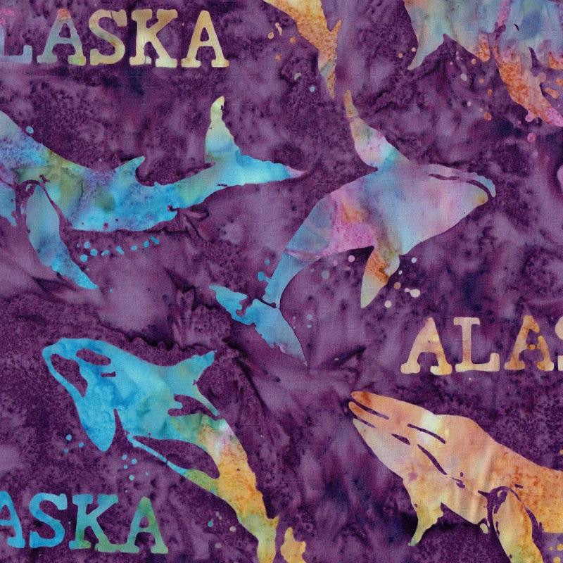 Alaska Word & Whales Batik SH44-460 Jelly