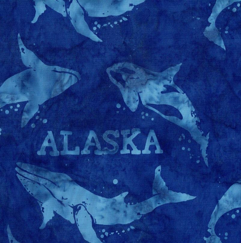 Alaska Word & Whales Batik SH44-530 Bluebird