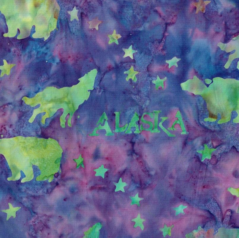 Alaska Flag Stars Wildlife Batik SH43-470 BLURPLE