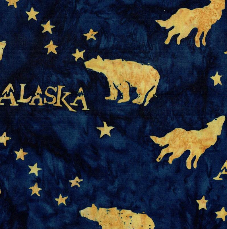 Alaska Flag Stars Wildlife Batik SH43-570 Universe