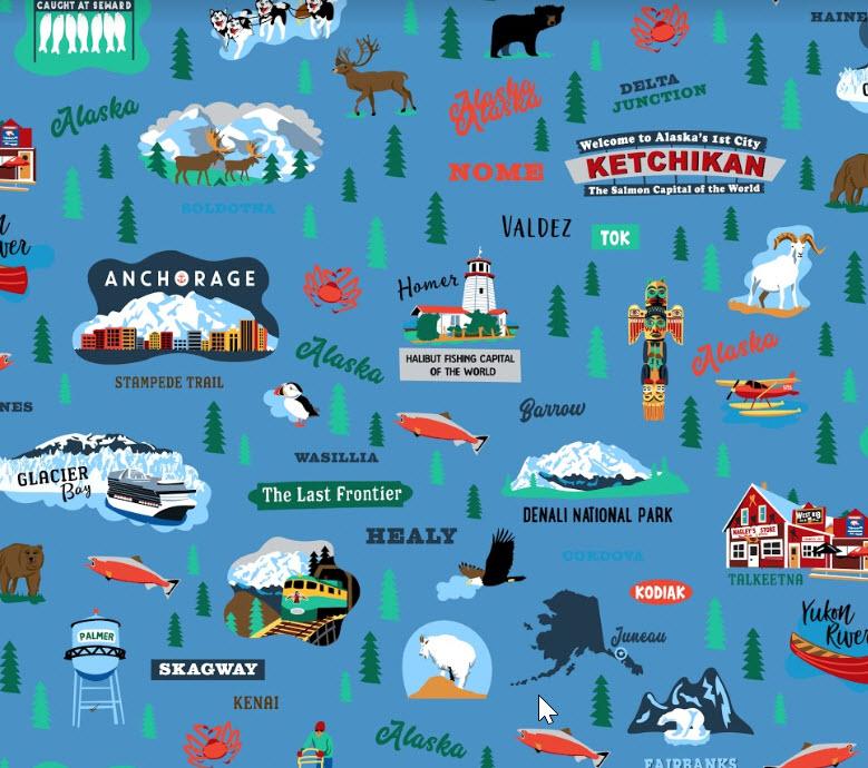 Alaska Cities RB C8560 Blue