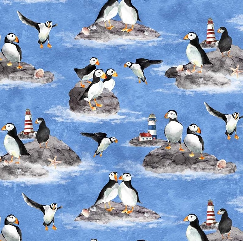 Puffins by Northcott NC 22608-42 Blue