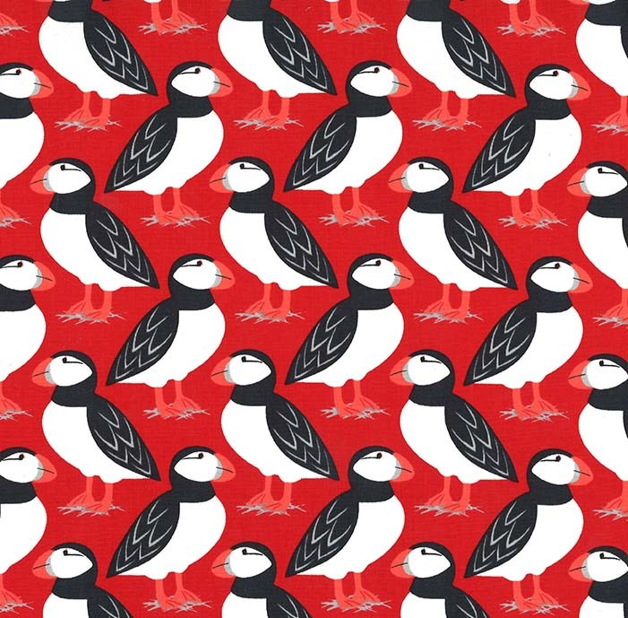 Acadia Puffins Red MM 8278 Red