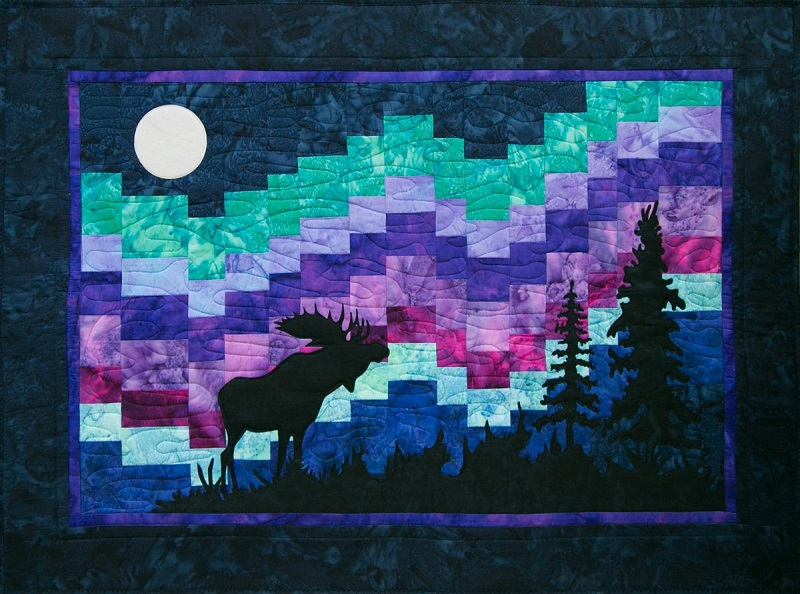 Northern Lights Moose Quilt Kit Laser Cut Applique