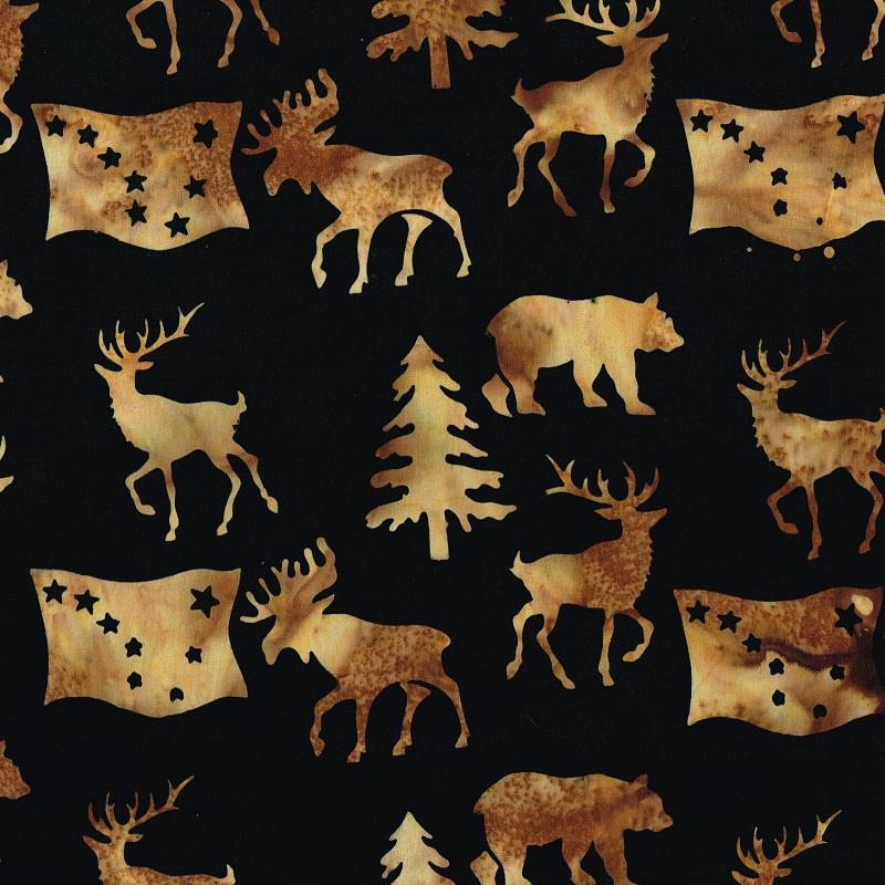 Alaska Flag Animals Trees Batik SH85-085 Cappuccino