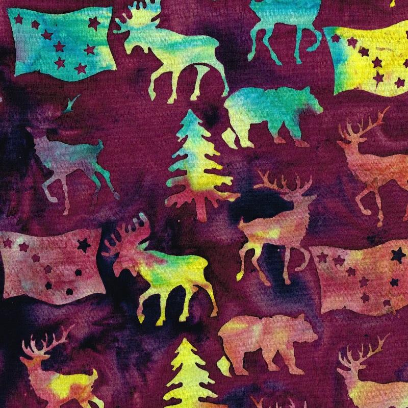 Alaska Flag Animals Trees Batik  SH85-485 Blackberry
