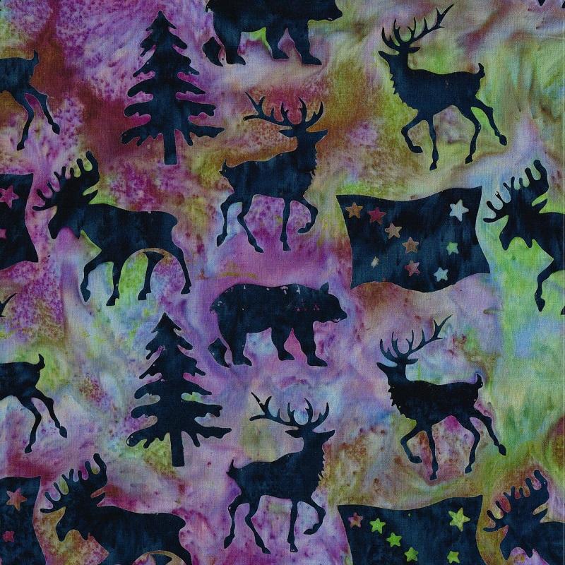 Alaska Flag Animals Trees Batik SH85-836 Moonstone