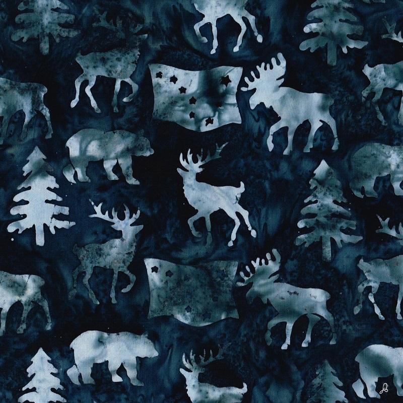 Alaska Flag Animals Trees Batik SH85-590 Storm