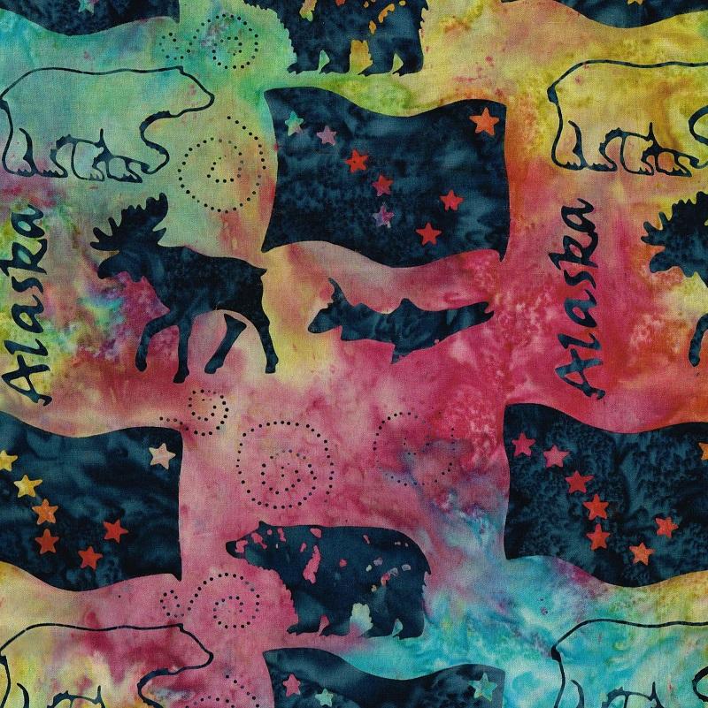 Alaska Word Wildlife Batik SH83-860 Tie Dye