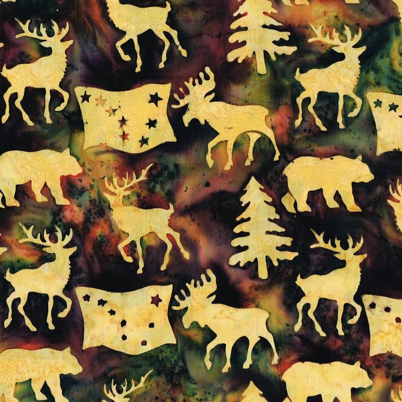 Alaska Flag Animals Trees Batik SH85-901 Orchid