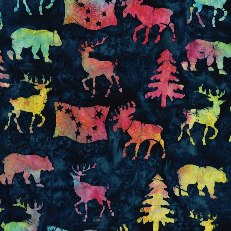 Alaska Flag Animals Trees Batik SH85-900 Beaujolis