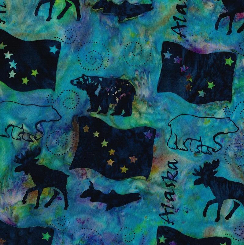 Alaska Word Wildlife Batik SH83-865 Marbles