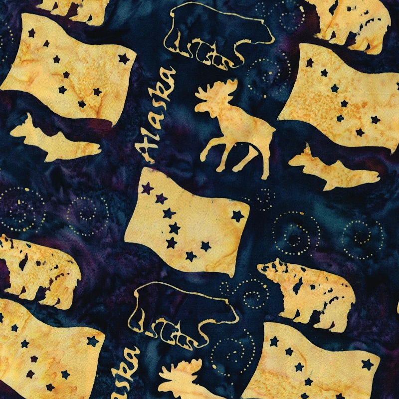 Alaska Word Wildlife Batik SH83-485 Blackberry