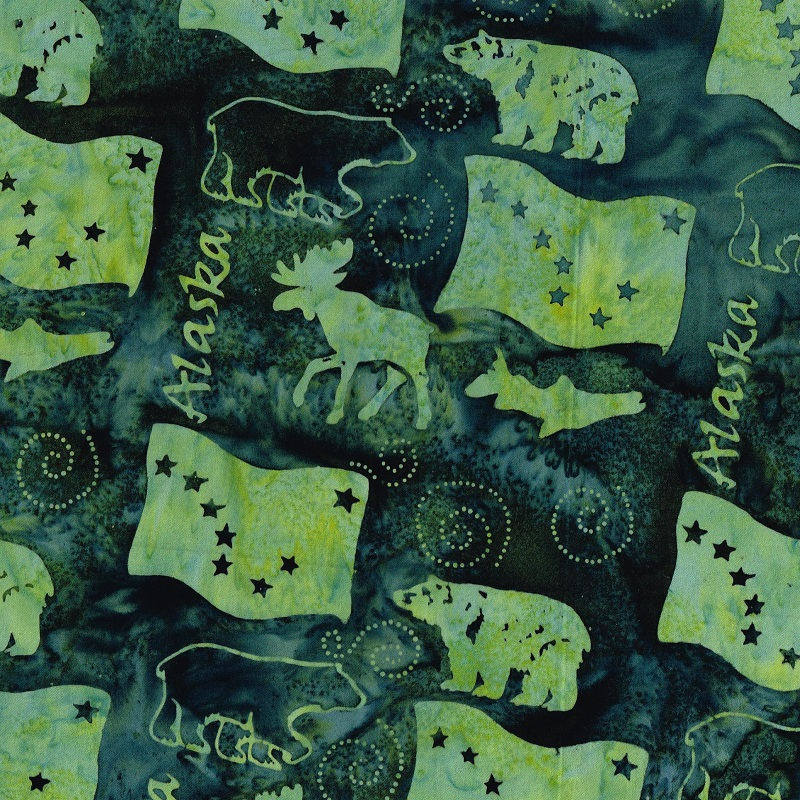 Alaska Word Wildlife Batik SH83-685 Pineneedle