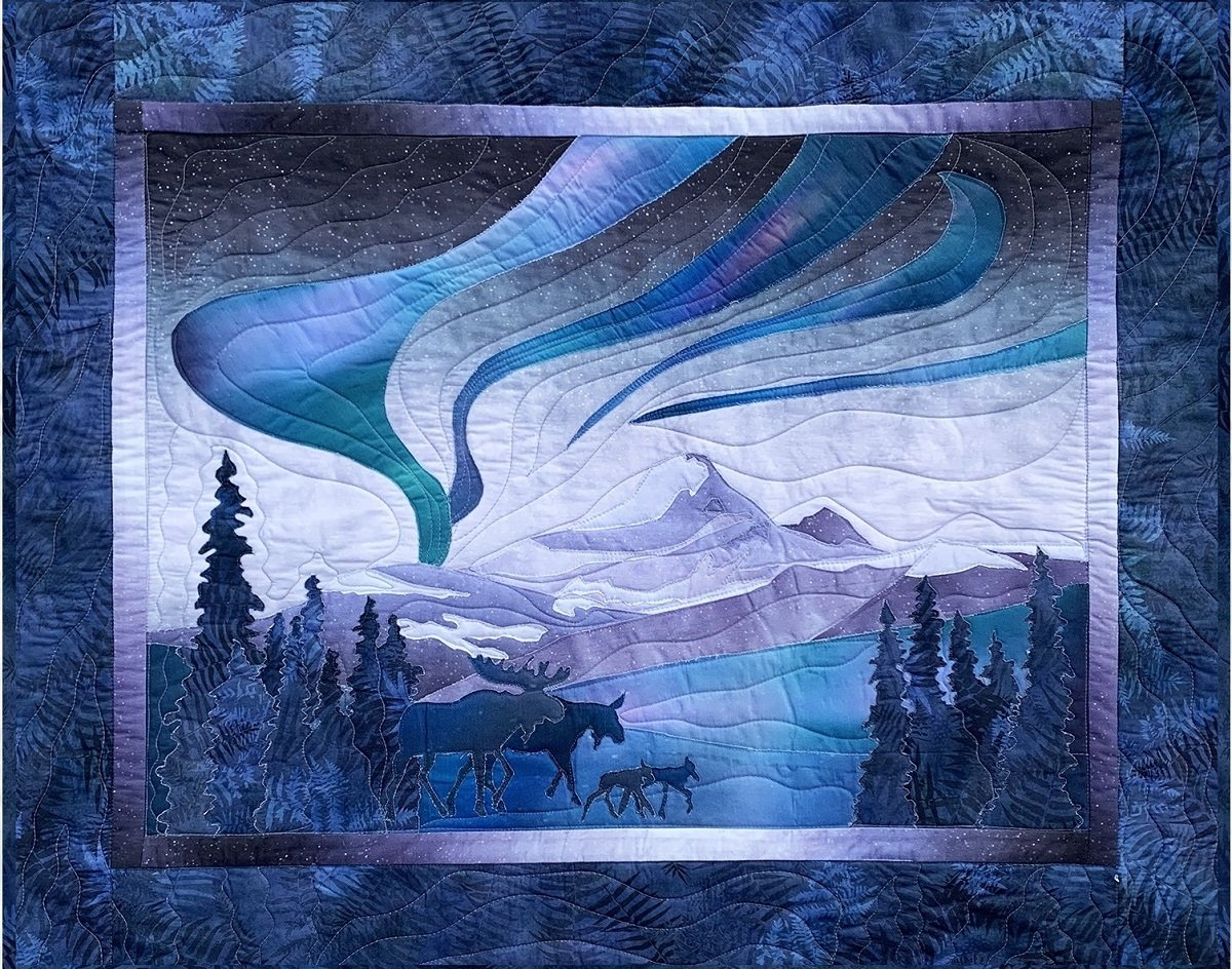 Glacier Lights Moose Quilt Kit