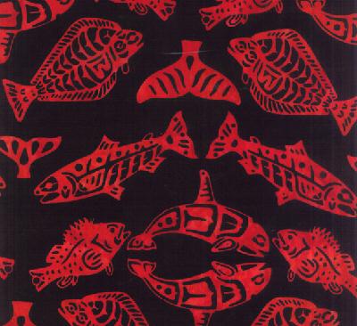 Totemic Fish Batik-Red-H-F2099-5