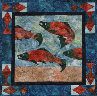 Migrating Salmon Wall Quilt Kit-Copper River Hot Yotts