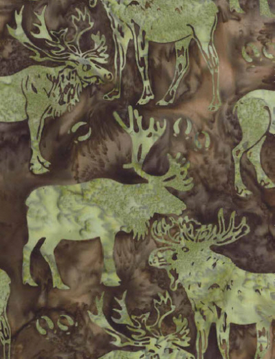Caribou-Moose Batik J2429-58 Earth