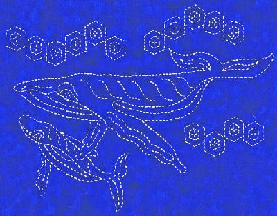 Alaskan Sashiko Humpback Duet Kit-Navy Whale