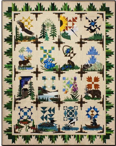 Northern Wilderness Complete Quilt Kit Wildlife Bear Moose Orca