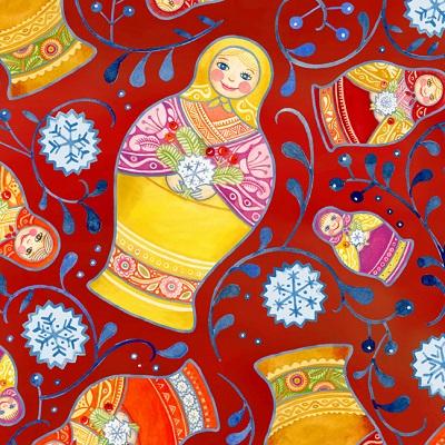 Kalinka Nesting Matryoshka Dolls Red ITB 3JPF2