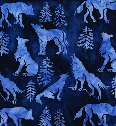 Batik Wolves-SH16-FL1 Blue on Navy