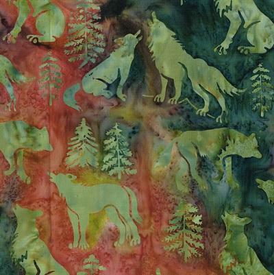 Batik Wolves-SH16-DM Green-Rust