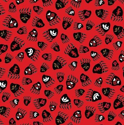 Totem Bear Paw Prints BTX 5024-10 Red