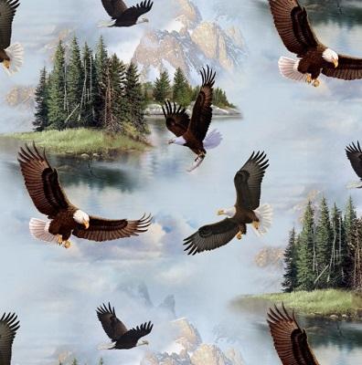 Majestic Bald Eagles Flying-ELS 7901-Blue