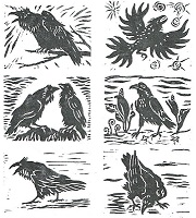 Ravens-6 Handpainted Woodblock Squares by Laura