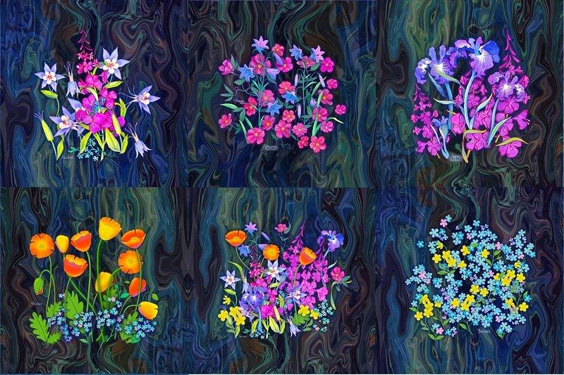 Alaska Wild Flowers Mini Blocks Mug Rug