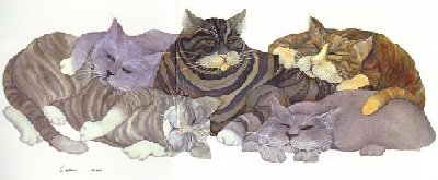 Lazy Grey Cats Fabric Panel-Barbara Lavallee