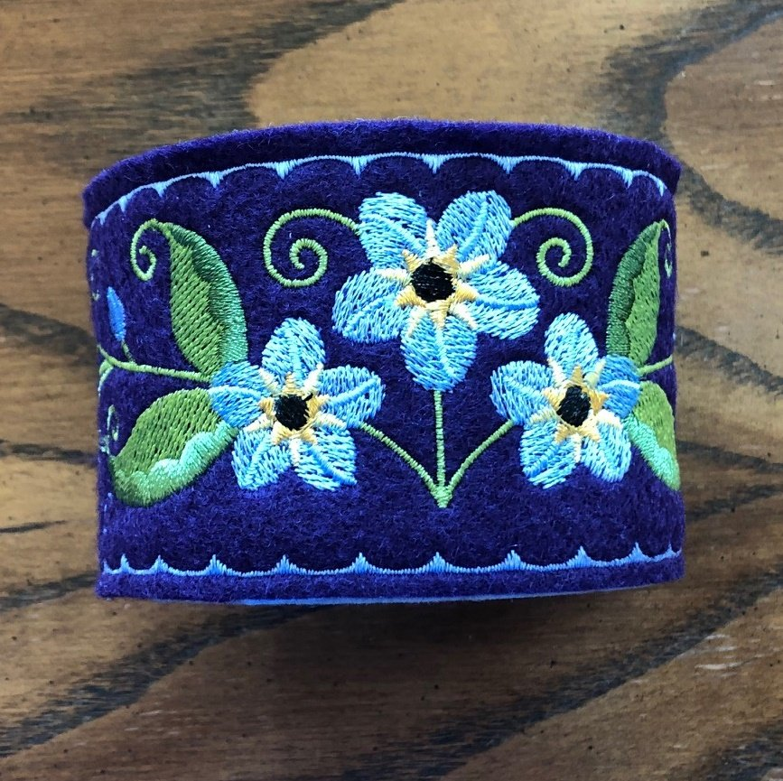 Embroidered Pincushion Forget Me Not Navy