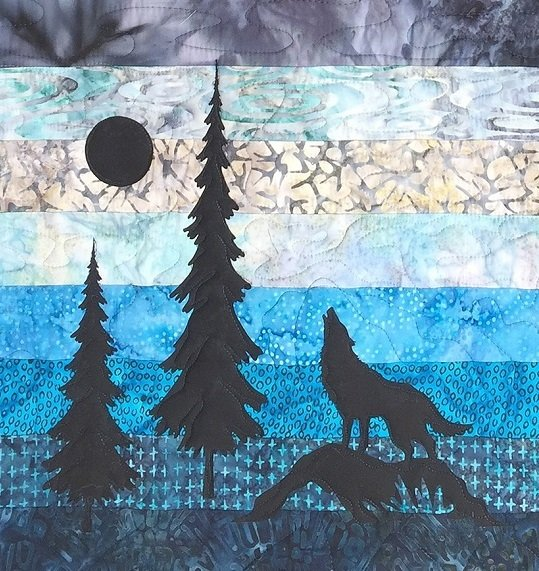 Single Wolf and Trees Laser Cut Applique