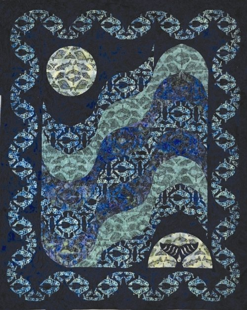 Moon Over Glacier Bay-Sapphire Lap Size Quilt Kit-Quilts with a Twist